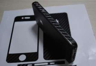 Black Carbon fiber Skin Full Body Sticker for iPhone 4