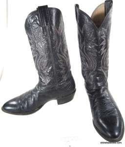 Vtg USA Made Nocona Black Leather Cowboy Boots RED BLUE WHITE