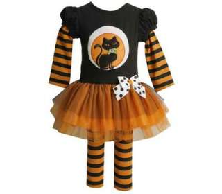 Bonnie Jean Baby Girls Halloween Cat on the Moon Dress Outfit w