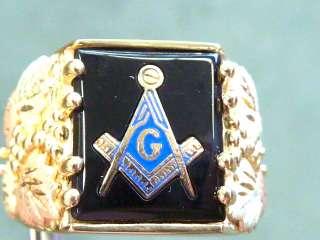 10k yg Black Hills Gold Masons onyx w blue enamel ring sz 10 3/4
