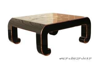 Black Piano Painted Lacquer Floral Coffee Table y528