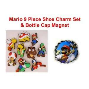 Set of 10 Nintendo Super Mario Brothers Bottle Cap Magnet