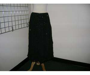 GINA BACCONI black sequin striped skirt 2 4 FAAAB