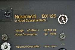 Nakamichi Stereo Cassette Deck Tape Player Recorder BX 125