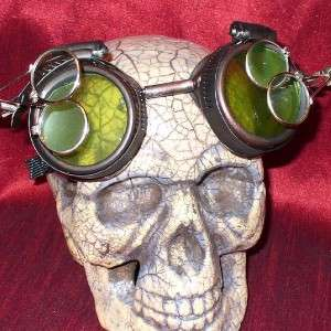 Steampunk Goggles Glasses magnifying lens old red LG.D