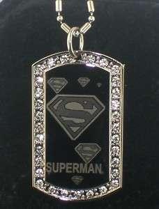 SUPERMAN cool CZ Dog Tag Pendant Necklace