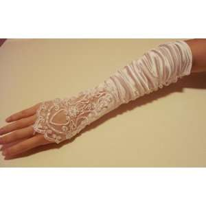 Ivory Flowers Bridal Glove Fingerless Satin Lace Pearl G4