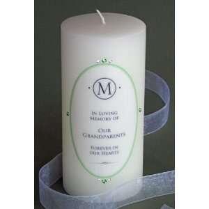 Green Swarovski Crystal Oval Elegance Memorial Candle