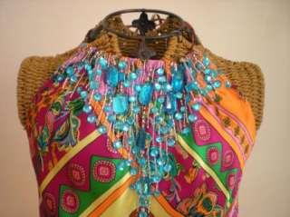 BOSTON PROPER ANDREA BEHAR Jewel Silk Halter Blouse Top Shirt Resort