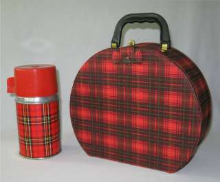 Retro Mid Century Plaid Aladdin Hat Box Lunch Box Set