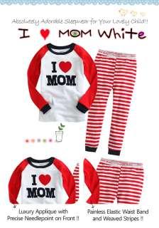 Toddler Kids Girl Boy Sleepwear Pajama Set  I ♥ MOM White