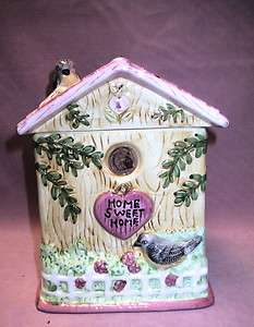 Country Designs Home Sweet Home Bird House Shaped Ceramic Cookie Jar