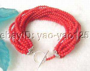 Genuine 15Strds AA Red Coral Bracelet 925 Silver Clasp