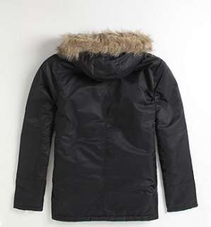 Hurley Mountain Parka Jacket Faux Fur Hoodie Mens NEW Sz M L Black