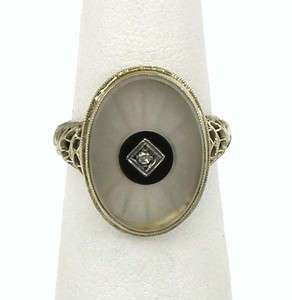 STUNNING ART DECO 14K GOLD, DIAMOND ONYX CAMPHOR GLASS LADIES RING