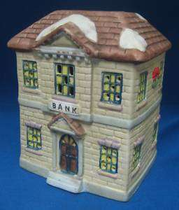 CHRISTMAS VILLAGE BANK LIGHTED BUILDING NATIONAL DECOR