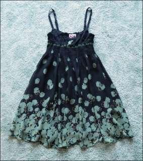 Free People Lace Crochet Bust Floral Chiffon Dress 8 S M