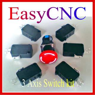 CNC 3Axis Micro Home Limit Switch Panic stop button Kit