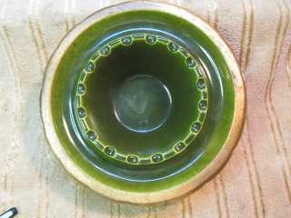 Emerald Green & Gold USA California Art Studio Pottery Scallop Ashtray
