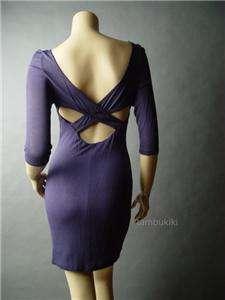 CRISS CROSS Peekaboo Cutout Back Jersey Knit Dress L