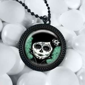 Dia De Los Muertos Day of the Dead Girl Black Pendant Necklace RFB 294
