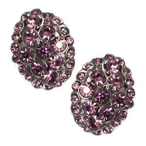Caresse Silver Lilac Crystal Clip Earrings Jewelry