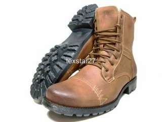 Mens Brown Military Style Calf High Fashion Lace Up Boots Polar Fox by