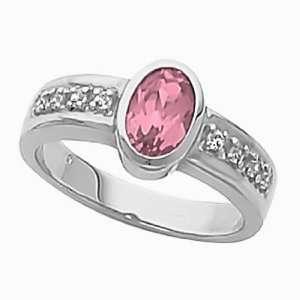 14K White Gold Pink Tourmaline and Diamond Ring Jewelry