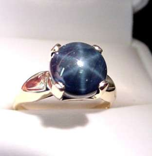 GENUINE BLUE STAR SAPPHIRE VINTAGE 14K GOLD RING