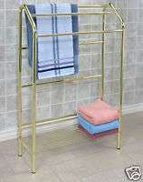 Polished Brass Plated Steel Towel Rack Stand 32 x 23