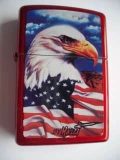 MAZZI FREEDOM WATCH EAGLE ZIPPO LIGHTER CANDY APPLE RED