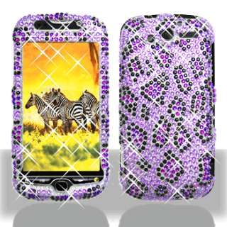 PURPLE LEOPARD BLING CASE COVER + CAR CHARGER for HTC myTouch 4G T