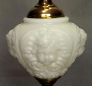 VTG MILK GLASS CHERUB FACE PUTTI RELIEF TABLE LAMP