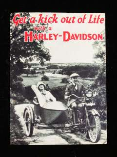 1950s postcard GET A KICK OUT OF LIFE WITH A HARLEY DAVIDSON; [Hog