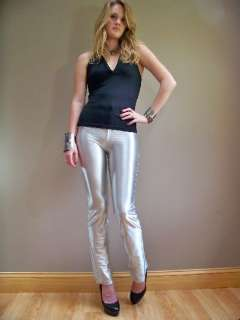 VTG spandex DISCO shimmery SHINY rocker SILVER high waisted pants