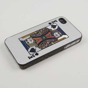 iphone 4 & 4S Silver King of Spades Playing Card Hard Plastic Case