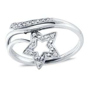 Size 10.5   10K White Gold Diamond Star Cross Over Wedding