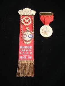 Antique Brook IOOF Oddfellows Lodge Badge Ribbons Pins No. 717