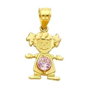 14K Yellow Gold October CZ Birthstone Girl Charm Pendant for Baby and