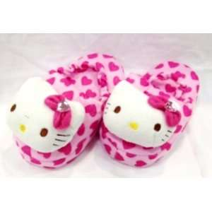 Hello Kitty Pink Hearts Plush Baby Slipper with Strap (for