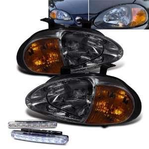 Del Sol 2in1 Crystal Smoke JDM Head Lights + LED Bumper Fog Lamps Pair