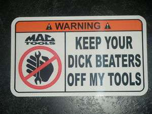 MAC Tool Box Warning Sticker   Gold   Snap on Funny