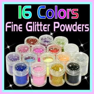 16 Colors Fine Nail Art Glitter Dust Powder Sparkle B71
