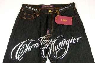 Men Christian Audigier Jeans w/Silver Foil Print 30x32