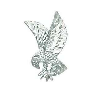 14K White Gold Diamond Cut Eagle Pendant Jewelry