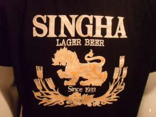 SINGHA LAGER BEER Brewery China Black T Shirt Sz LARGE