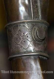 Old Antique Tibetan Buddhism Ritual Silvered Bronze Trumpet Horn