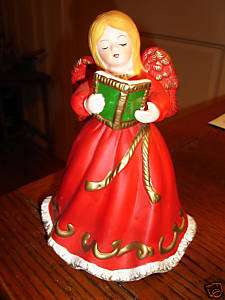 Old Chalkware Angel Music Box Sculpture / Silent Night