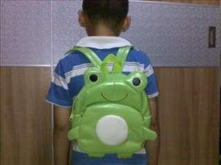 Kids Cartoon Nursery Backpack Lunch Bag Green Frog