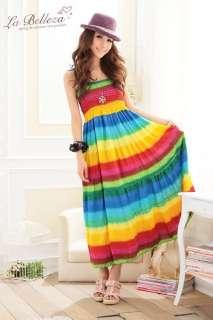 Rainbow Stripe Colorful Long Maxi Dress Summer #64 2 Colors